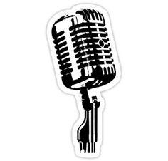'mic' Sticker by lord-sativa Logo Sticker, Sticker Design, Totoro, Neon Painting, Prop Design, Vintage Microphone, Flower Boys, Illustration Girl, Tumblr
