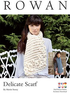 Crochet this lace mesh scarf from the Rowan Swarovski Sparkle Collection. Designed by Martin Storey In Kid Classic and crystal embellishment placement designed by the Swarovski team, it features a bead and fringe trim. Avialable in two colourways.The pattern has been translated into English, French, German, Netherlands, Danish & Swedish | English Yarns