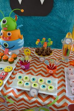 Monster Themed Boys Birthday Party Table Display