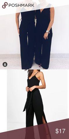 f0a4a900730d57 Boohoo Jumpsuit split leg tie waist Black jumpsuit worn once for a gala!  Black