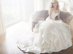 Ivory strapless striped organza bridal gown with a ruched elongated bodice, flounced tulle and organza skirt with chapel train.</p> Bridal Gowns, Wedding Dresses by Hayley Paige Bridal - JLM Couture - Bridal Style by JLM Couture, Inc. Gorgeous Wedding Dress, Dream Wedding Dresses, Designer Wedding Dresses, Bridal Dresses, Wedding Gowns, Dresses Dresses, Elegant Wedding, Organza Bridal, Wedding Dress Organza