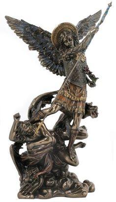 Saint Michael on Demon Archangel Cast Bronze Figure Classical Statue Sculpture