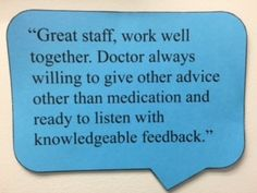 See what our patients said. Open House on 4/26. Tour the facility. Meet the entire staff. #PRP #lifestylemedicine