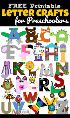 26 adorable alphabet crafts to make to practice uppercase letter recognition. adorable alphabet crafts to make to practice uppercase letter recognition. These letter crafts are NO PREP as you just print, color, cut, and Preschool Letter Crafts, Alphabet Letter Crafts, Abc Crafts, Letter Activities, Alphabet Book, Uppercase Alphabet, Free Printable Alphabet Letters, Number Crafts, Circle Time Activities