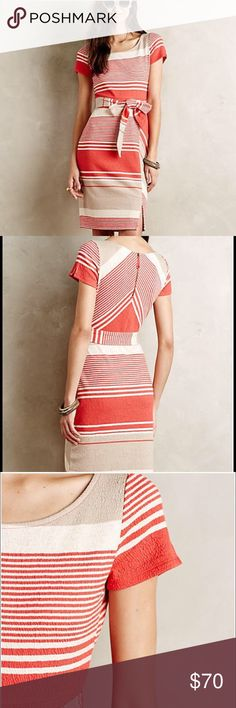 Anthropologie Sorella Dress by Lilka. Striped orange cream and beige. Sz M. Very comfortable. Anthropologie Dresses Midi
