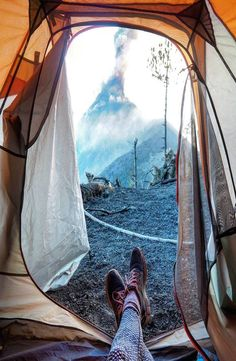 Volcán de Fuego is an one hour bus ride from Antigua, Guatemala. Hike up the of Volcano Acatenango to see the active Volcano Fuego erupting. Active Volcano, Bus Ride, Outdoor Gear, Tent, Hiking, Antigua, Volcanoes, Fire, Walks