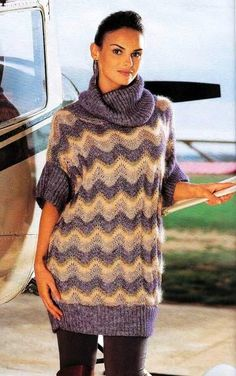 Вязание. Туника с воротником хомут (1) (438x700, 265Kb) Knitting Stitches, Knitting Patterns, Rubrics, Missoni, Knit Dress, Free Pattern, Knit Crochet, Turtle Neck, Womens Fashion