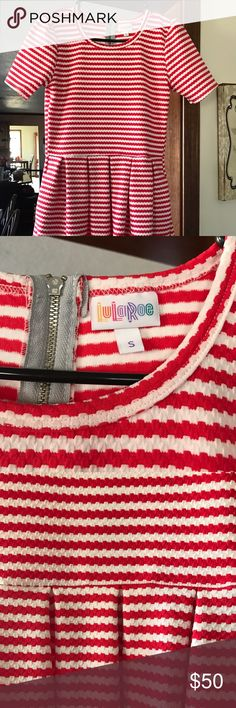 NWOT NEVER WORN LULAROE AMELIA RED STRIPED DRESS S 💋❤️SAVE TODAY ONLY 20% OFF BUNDLE 2 or more NWOT NEVER WORN LULAROE AMELIA RED STRIPED DRESS S. I BOUGHT FOR MY DAUGHTER SHE NEVER WORE PERFECT NEW CONDITION. RED WHITE STRIPED. LuLaRoe Dresses Midi