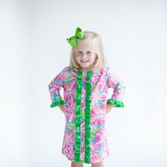 9/10/2013  Green & Pink Floral Long Sleeve Claire Dress