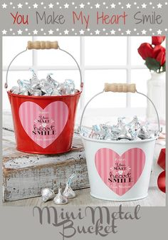 Aren't these mini metal bucket cute? I love them because they are not only cute buckets to fill little treats for valentine's day but also usable for little organizer! #affiliate #gifts #kawaii