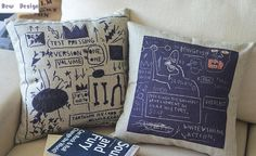 Basquette graffiti paintings simple Vintage Linen sofa cushion and pillow pillow office for vehicle45cm x 45cm