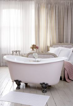 Le Bateau Foix bath by Catchpole and Rye stands elegantly on four cast-iron feet, an excellent choice for bathrooms or bedrooms. Timeless Bathroom, Beautiful Bathrooms, Bathroom Gallery, Bathroom Ideas, Yellow Baths, Copper Bath, Blue Bath, Garden Tub, Vanity Units