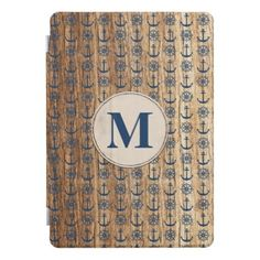 #Monogrammed Blue Nautical Anchor And Ship Wheel 2 iPad Pro Cover - #country gifts style diy gift ideas