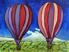 ant eater hot air balloon 11x14 signed artist prints animals impressionism gift
