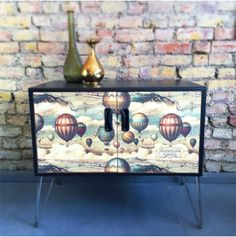 Upcycled Mid Century GPLan Chest of Drawers | Muck n Brass | £295.00 | Vintage | Retro | Budapest Balloon | Mid-century | GPlan | Decoupage | Upcycled Media Unit | #Upcycledfurniture | #UpcycledGPlan | #VintageFurniture | #Decoupage | #MucknBrass | #MediaUnit | #Retro | #Midcentury