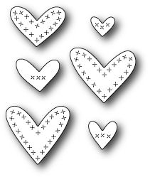 Memory Box Cross Stitched Hearts Die. Craft dies featuring assorted cross stitched hearts. 100% steel craft die for use on cardstock, felt, and fabric. Use in m