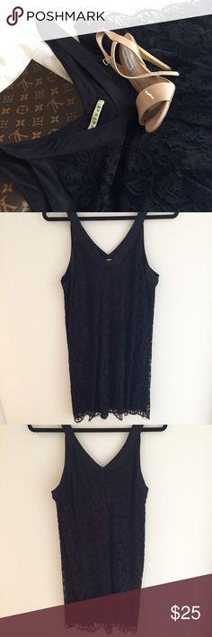Velvet Black Lace Dress | Medium -Velvet Black Lace Dress size Medium  -Above the knee length  -Gorgeous v neck detail in the front and back  -Worn once Velvet Dresses Midi