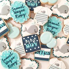 Whale-themed baby shower cookies to celebrate baby Samuel's upcoming arrival! #decoratedcookies #sugarbylyndsie