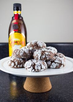 Kahlua Chocolate Crinkle Cookies - Lito Supply Co. - - Easy recipe for Kahlua Chocolate Crinkle Cookies that are soft, chewy, and packed with flavor. They're the perfect boozy cookies to share with friends. Date Cookies, Xmas Cookies, Buckeye Cookies, Yummy Cookies, Chocolate Crinkle Cookies, Chocolate Crinkles, Kahlua Recipes, Cookie Recipes, Dessert Recipes
