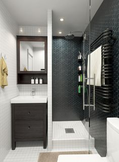 Contemporary small black / gray + white + wood bathroom in apartment for DJ // INT2