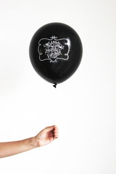 Chalk Lettered Happily Ever After Balloons. Engagement party decorations!?! Such a classy version of balloons.
