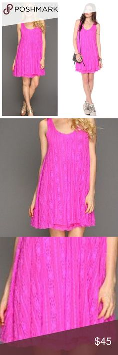 "Free People wild pink lace swing dress Never worn. It is 34.5"" long laying flat.                                                 h Free People Dresses"