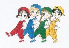 Miki, Yuu, Meiko y Miki. Marmalade Boy. Wataru Yoshizumi.