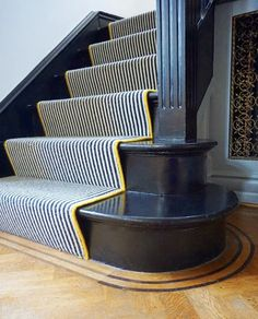 Carpet Staircase, Staircase Runner, Striped Carpet Stairs, Stair Carpet Runner, Stair Runners, Black And White Stairs, Black Painted Stairs, Victorian Hallway, Staircase Makeover