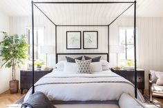 "Melissa Shapiro Interiors on Instagram: ""If I were to make a list of my top home decor picks by category, this bedroom would check a lot of boxes. What's your favorite piece in the…"" Make Your Bed, How To Make Bed, Farmhouse Bedroom Decor, Home Bedroom, Master Bedrooms, Master Bathroom, Bedroom Ideas, Black Canopy Beds, Huge Bed"