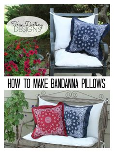 Fourth of July Decor - Bandanna Pillow Tutorial - Toss Pillows - True Destiny Designs #fourthofjulydecor #independencedaydecor #truedestinydesigns