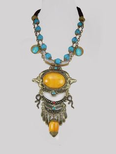 Huge Bohemian Necklace Snake turquoise tassel drops. Be that boho gypsy you always wanted to be.