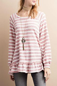 0c1532ca3735a This long sleeve yarn dye 2tone stripe french terry knit tunic in wine is  such a. Shoptiques