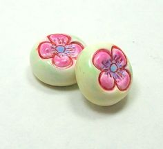 Handmade Polymer Clay Beads Impressed with a Flower Pattern and Colored with Pastels by BarbiesBest on Etsy