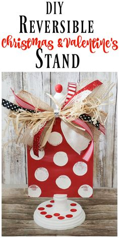 DIY Reversible Valentine/Christmas Stand - Re-Fabbed DIY Reversible Christmas and Valentine's Day Stand<br> Is there anything better than having super cute, with reversible valentine's day and Christmas decor? This is a WINNER! Valentines Day Decorations, Valentine Day Crafts, Christmas Decorations, Valentine Ideas, Valentines Sweets, Crafts To Sell, Diy Crafts, Wood Crafts, Dollar Tree Crafts