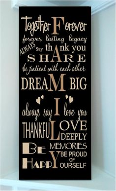 Beautiful 10x24 wooden board sign with subway art quote..Together forever family rules