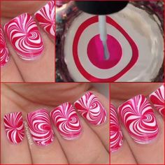 Christmas nails, like peppermint candy