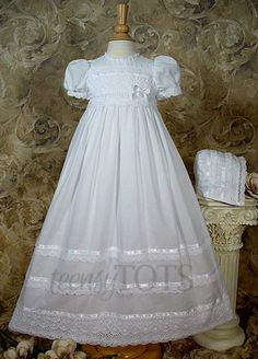 abd50066a0ce Girls Cotton Batiste Christening Gown by Little Things Mean A Lot Lace Christening  Gowns