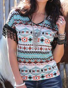 $19.99!  yea..you need this one!! CRUEL GIRL Western AZTEC FRINGE T TEE SHIRT Boho Gypsy COWGIRL  NWT MEDIUM #CRUELGIRL #GraphicTee