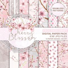 Cherry Blossom Digital Paper Pack Seamless by froufroucraft