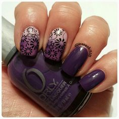 gradient nails with stamping