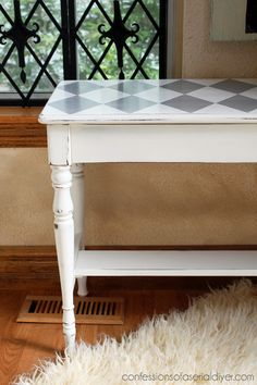 Harlequin Print Table by Confessions of a Serial Do-It-Yourselfer
