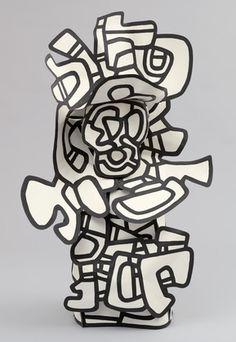 Jean Dubuffett sculpture plat/ 3 dimensions.
