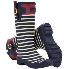 Joules French Navy Stripe Wellyprint Rain Boot (£29) ❤ liked on Polyvore featuring shoes, boots, mid-calf boots, slip on rubber boots, mid calf rain boots, joules boots, striped rain boots and navy blue rain boots