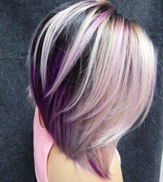 Layered Black, Blonde And Purple Bob