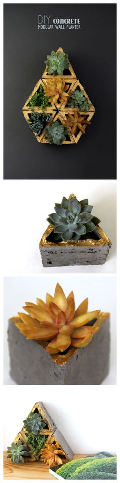 Concrete Modular Geometric Wall Planters #decoration #gardening #succulents