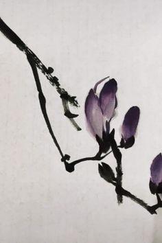 Sakura Painting, Japanese Ink Painting, Sumi E Painting, Japanese Drawings, Japan Painting, Watercolor Painting Techniques, Japanese Art, Watercolor Paintings, Garden Painting