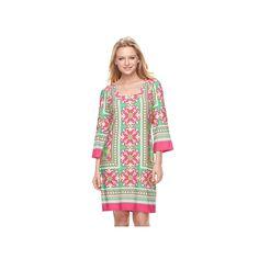 Women's MSK Tile Shift Dress, Size: Medium, Dark Pink