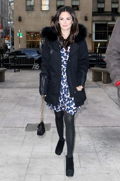 Rachel Bilson in a silk A.P.C. dress, parka, tights and ankle boots // Recreate Rachel Bilson's Cold Weather Style