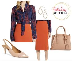 Bow tie blouses are fashionable around the office this fall, but the latest and greatest are Tie-Neck blouses. Take a Look at these Chic Tie-Neck blouses, and how to wear them to look wow at work. Business Chic, Business Fashion, Orange Pencil Skirts, Bow Tie Blouse, Black Dress Pants, Work Looks, Look Chic, Black Plaid, Work Wear