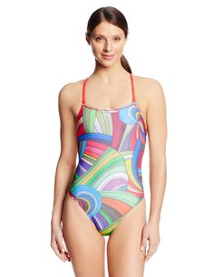 Amazon.com: Speedo Womens Rebel Lines Shirred Back Swimsuit, Multi, 28: Clothing